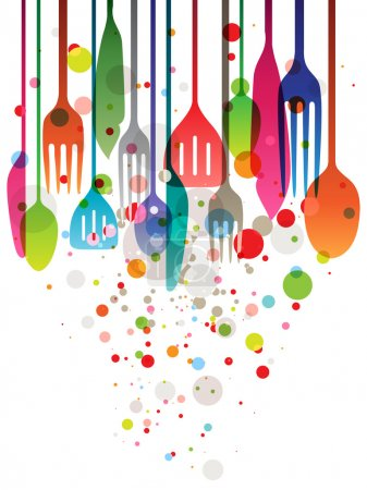 Illustration for Beautiful vector illustration with multicolored utensils for all kind of food related designs - Royalty Free Image