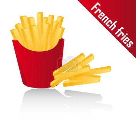 Illustration pour Frites avec ombre sur fond blanc. illustration vectorielle - image libre de droit