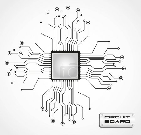 Illustration for Circuit board cpu, vector illustration - Royalty Free Image