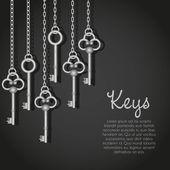 Old silver keys hanging string vector illustration