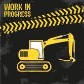 Backhoe design under construction vector illustration