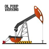 Oil pump working isolate on white background vector illustration