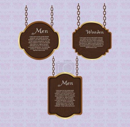 Illustration for Wooden sign hanging over violet background. vector illustration - Royalty Free Image