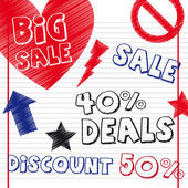 Deals drawing with sign over notebook vector illustration