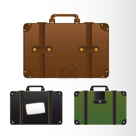 Illustration for Three suitcase with sewing over gray background. vector illustration - Royalty Free Image