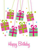Cute gifts over white background birthday card vector