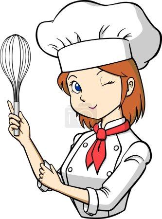 Illustration pour Ceci est une illustration de cuisinier avec un fouet . - image libre de droit