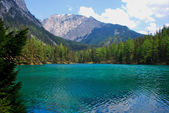 Green lake with mountain