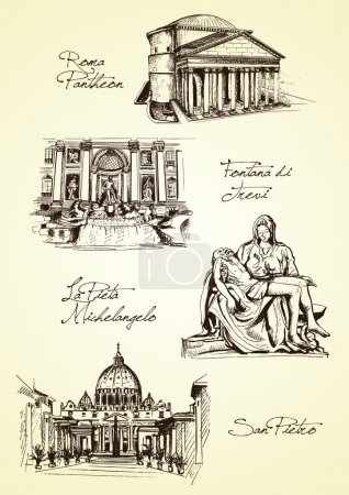 Hand drawn rome monuments