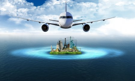 Photo for Tourism and travel around the world: airplane is flying over the ocean and atoll with landmarks and blue sky in the background - Royalty Free Image