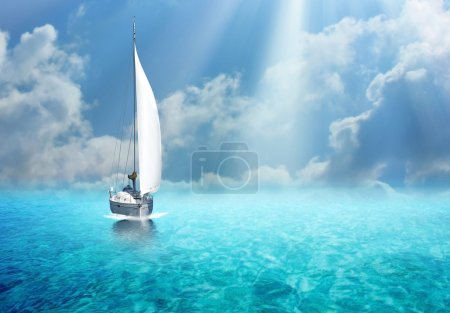 Sailing boat in the ocean