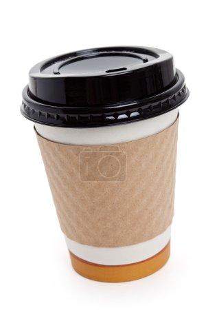 Photo pour Tasse à café jetable avec fond blanc - image libre de droit