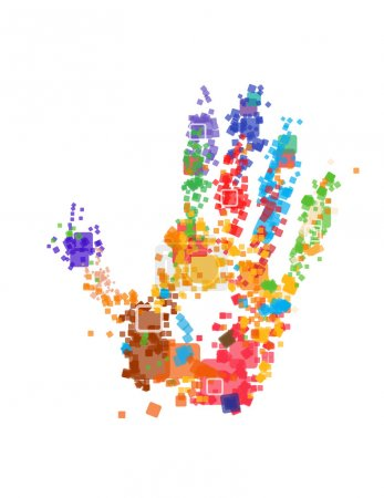 Illustration for Close up of multicolored hand print on white background - Royalty Free Image