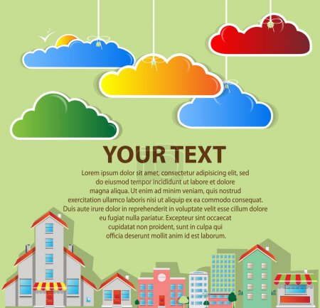 Real estate town with clouds vector