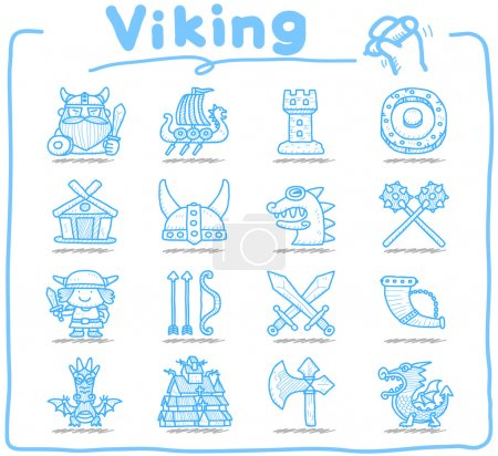 Hand drawn Viking Pirate icon set