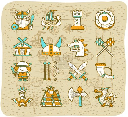 Hand drawn Viking Pirate icon set