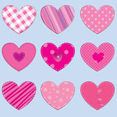 Set of 9 hearts in stitched textile style great for scrapbooking