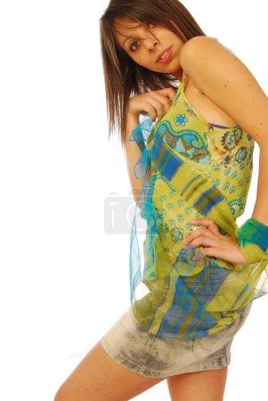 Beautiful seductive brunette in a sexy dress 149