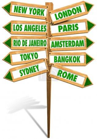 Photo pour Panneaux en bois avec des flèches pour montrer des villes les plus populaires dans le monde - image libre de droit