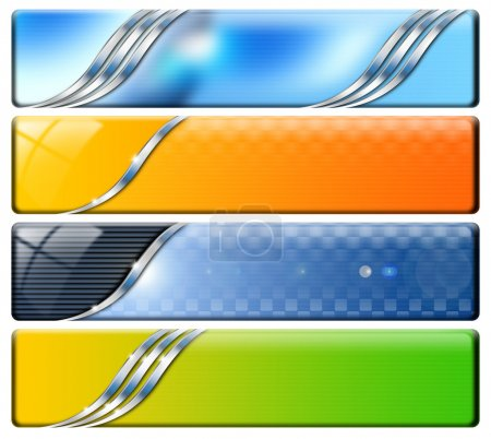 Photo for Set of technological banners or backgrounds, blue, orange and green - Royalty Free Image