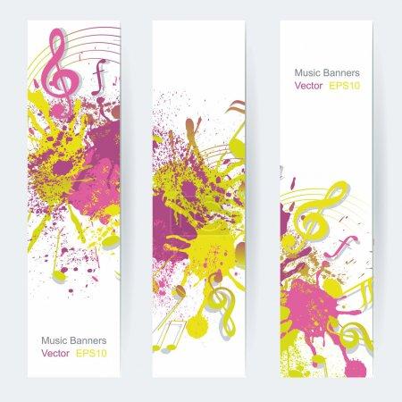 Illustration pour Notes de musique conception de bannière, illustration vectorielle - image libre de droit