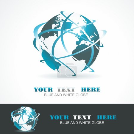 Illustration for Sphere 3d design. Vector symbol. Globe blue anr white. - Royalty Free Image
