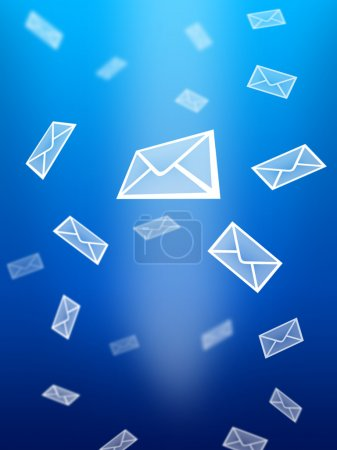 Photo for Abstract blue background, with white postal mail - Royalty Free Image