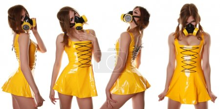 Yellow Cyber Fetish PVC Dress and Respirator