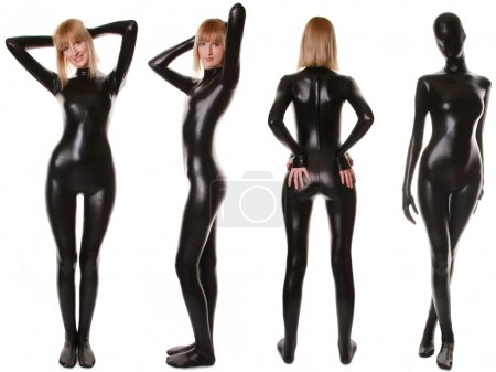 Black Spandex Zentai Fetish Catsuit...