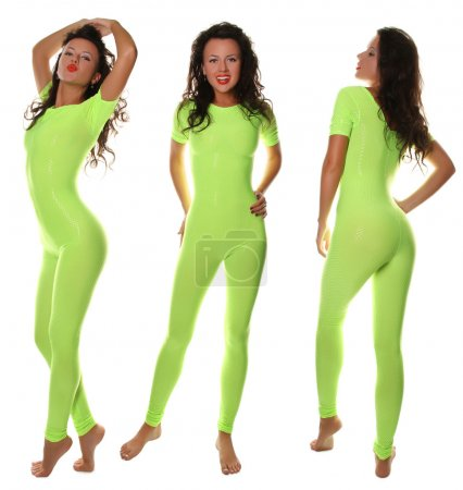 Sexy Sporty Girl in light green Fitness Suit...