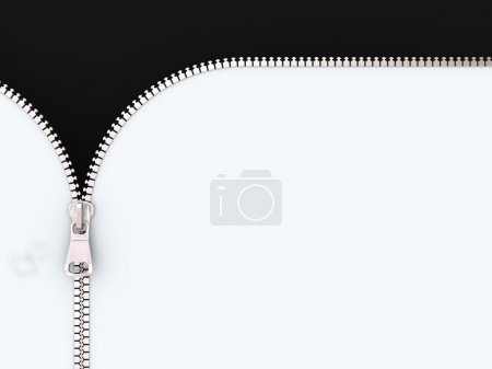 3D Illustration Zipper on White and Black Backgrou...