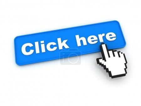 Photo pour Cliquez ici bouton avec curseur à la main - image libre de droit