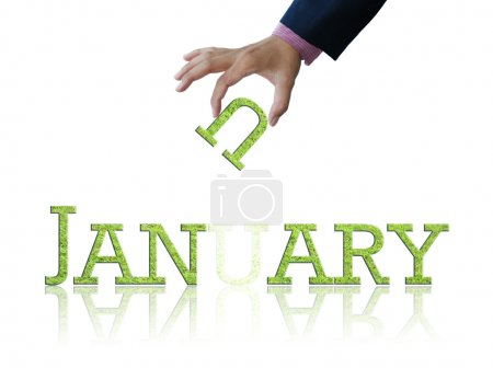 Attractive artwork of word january on white backgr...