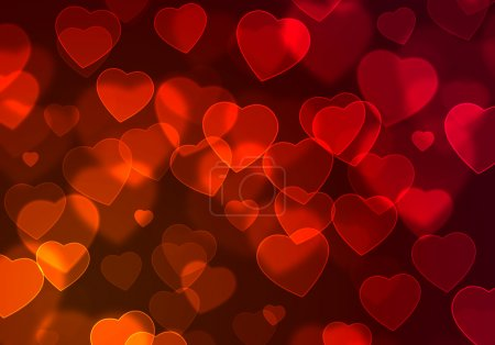 Photo pour Illustration de fond romantique abstrait avec des cœurs rouges flottants - image libre de droit