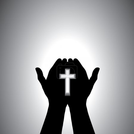 Devout christian worshiping with cross in hand
