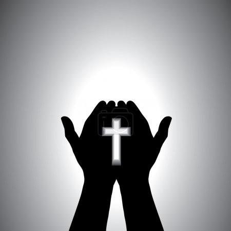 Foto de Persona orando con la cruz en la mano - concepto de un devoto cristiano adorando a Cristo - Imagen libre de derechos