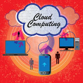 Computers mobile laptop connecting - cloud computing