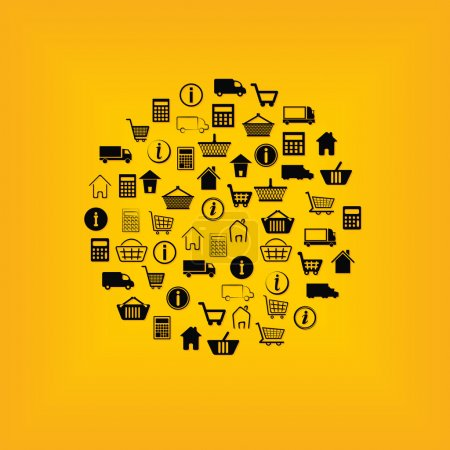 Illustration for E-shop icons in circle - Royalty Free Image