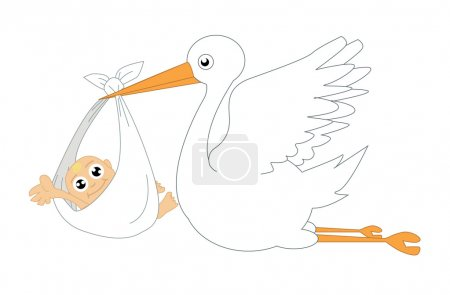 Photo for Stork and baby illustration - Royalty Free Image