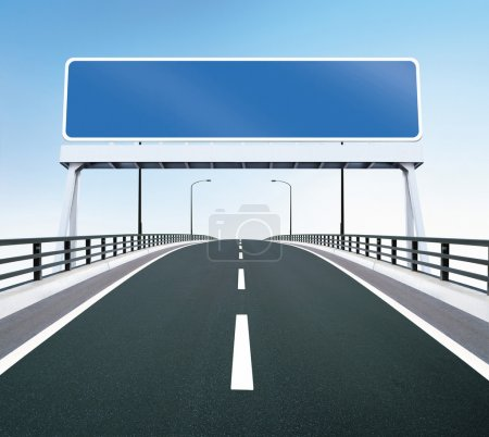 Photo for A highway of a bridge. A blank highway sign with room for your text - Royalty Free Image