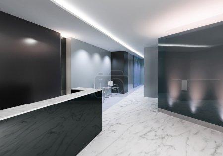 Photo pour Zone d'entrée d'un bureau avec une décoration moderne - image libre de droit