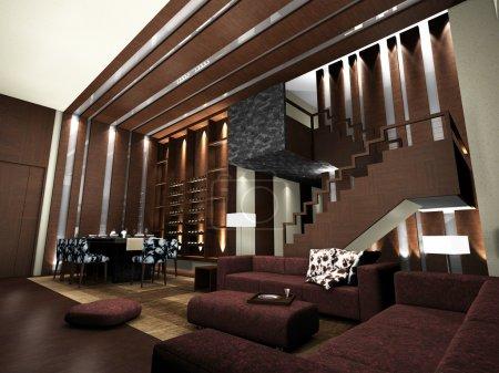 Photo pour Design moderne de salon avec table et canapés rendu 3D - image libre de droit