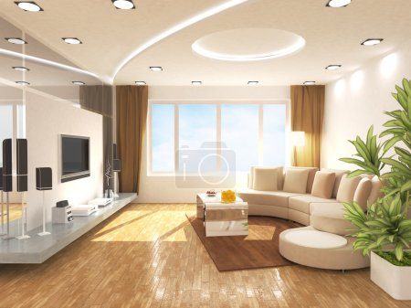 Photo pour Modern living room design in 3D rendering - image libre de droit