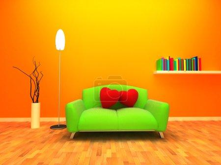 Photo pour Design intérieur moderne et chaleureux. Deux coussins sont placés sur le canapé et s'appuient les uns sur les autres . - image libre de droit