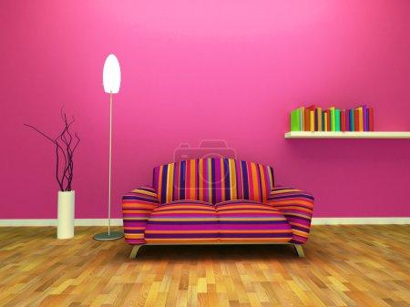Photo pour Design intérieur contemporain de salon avec le décor et les meubles. - image libre de droit