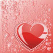 Heart of water on a red surface...
