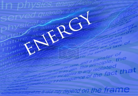 Text Energy on blue background with texs about ene...