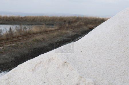 Pile white salt and seawater