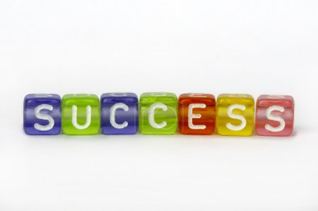 Text success on colorful wooden cubes