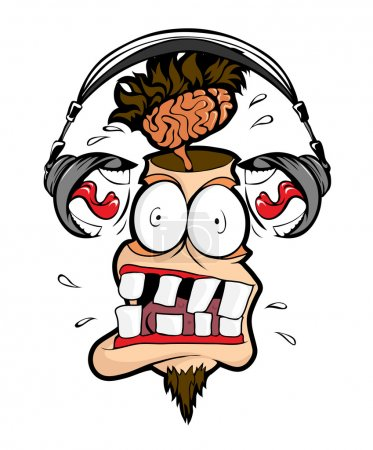 Illustration for Headphones man shout loudly in my head. - Royalty Free Image
